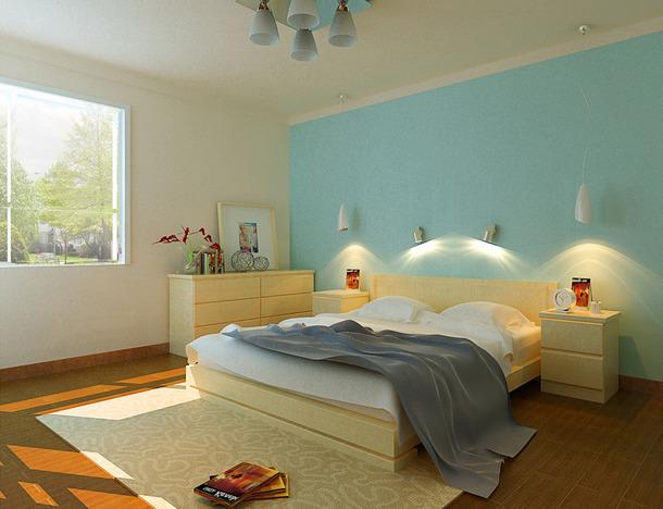 180㎡简约风格儿童房卧室床头背景墙装修效果图-简约风格床图片