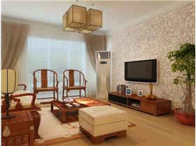 中年教師清新簡約中式風?素紋壁紙打造簡約電視墻,古典家具演繹82m2中式傳統