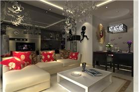 中式風格二居室裝修,鏡面背景墻巧妙利用,空間延伸無極限~書法電視墻凸顯中式特色