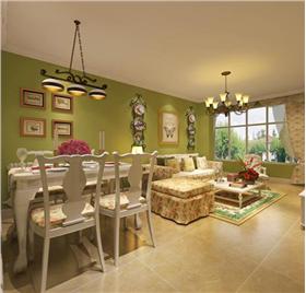 老年夫婦田園風格二居室裝修,色彩變化間體現生活溫馨