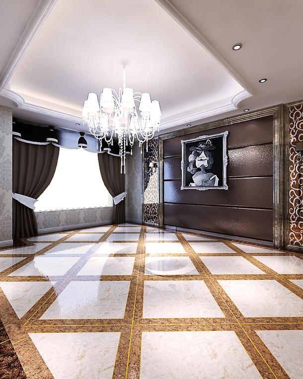 银色印花壁纸铺满整个墙壁,弧形门 罗马柱 水晶吊灯,230平米欧式复古