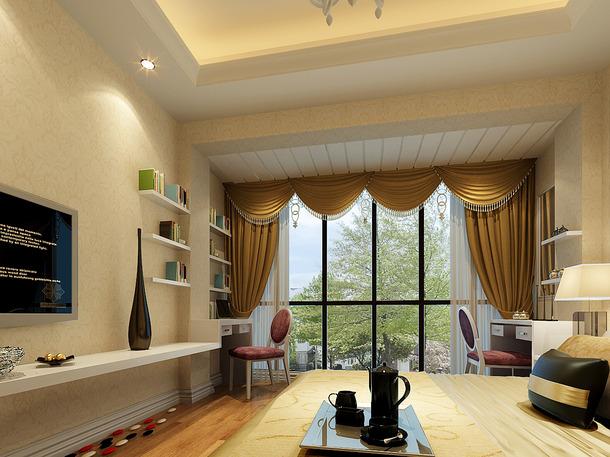 现代简约风格卧室电视墙装修效果图,现代简约风格窗帘图片