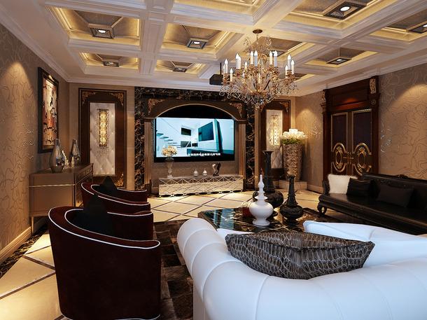 300㎡别墅欧式古典风格家庭影院吊顶装修效果图-欧式古典风格电视柜