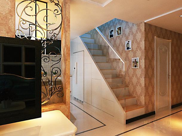 160㎡四居室简约欧式风格楼梯装饰画装修效果图