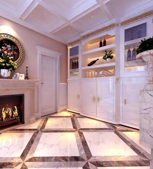 245㎡欧式风格门厅吊顶装修效果图-欧式风格红酒柜图片