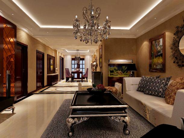欧式风格四居室客厅沙发背景墙装修效果图,欧式风格吊顶图片