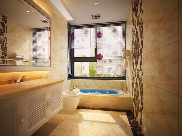 简约欧式风格浴室窗帘装修效果图-简约欧式风格浴缸图片