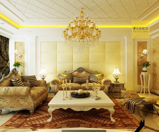 欧式风格客厅吊顶装修效果图-欧式风格沙发图片
