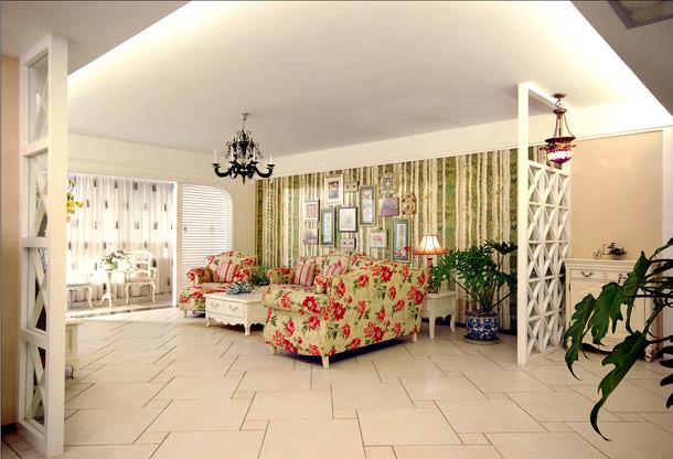 田园风格客厅沙发背景墙装修效果图,田园风格茶几图片