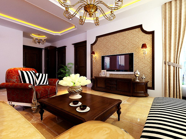 140㎡3室2厅1厨2卫简约欧式风格客厅电视背景墙装修效果图-简约欧式