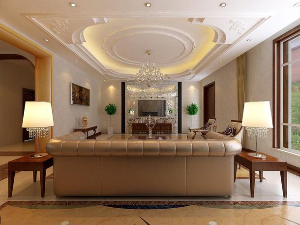 歐式風格別墅客廳電視背景墻效果圖,歐式風格吊頂圖片