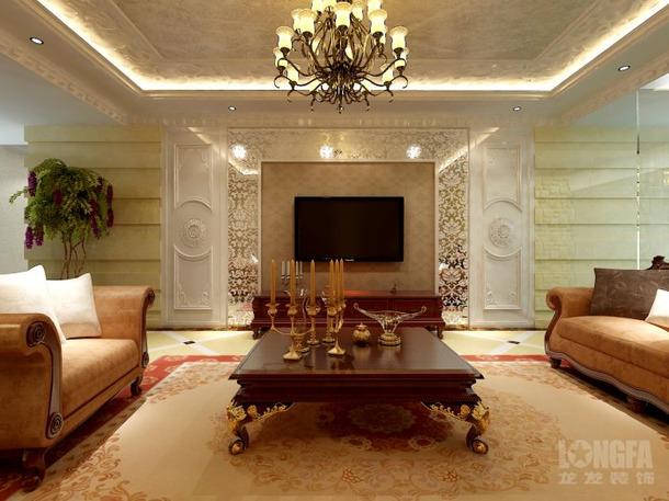 350㎡别墅欧式风格客厅电视背景墙装修效果图-欧式风格茶几图片