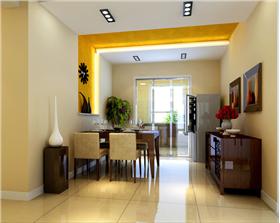 換色溫馨格掉三居室,餐廳墻面背景結合頂面造型,黃色墻紙溫馨無限