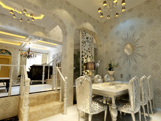210㎡6室2厅1厨3卫别墅欧式风格餐厅背景墙装修效果图-欧式风格餐台