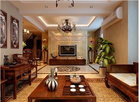 新中式复式装修,山水画背景墙,嵌入式酒柜彰显生活特色