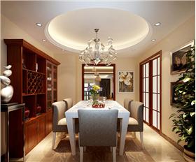 192平躍層三居中式新装,博古架与酒柜完美结合,浅紫装点卧室温情
