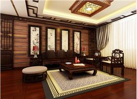 传统的青砖墙配以中式家具仿佛回到了宫廷年代,四君子的墙面体现了文化的气韵,