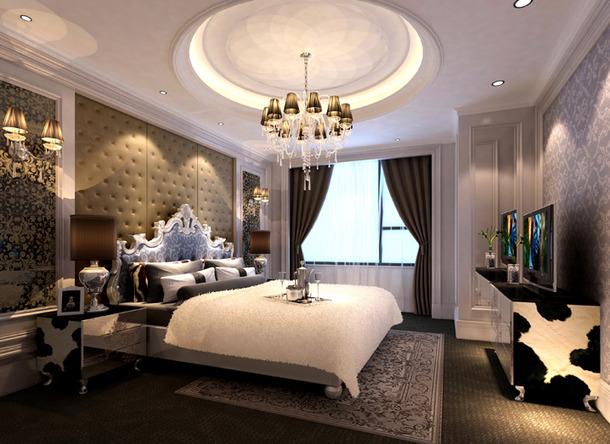 欧式风格卧室床头背景墙装修效果图-欧式风格床图片