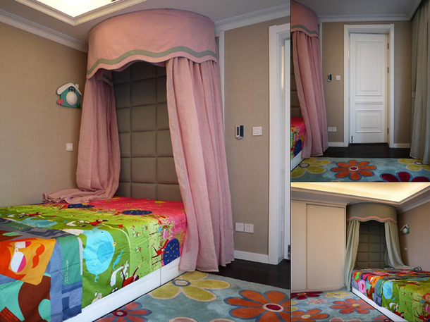 89m2简约欧式风格儿童房软包背景墙装修图片-简约欧式风格儿童床图片
