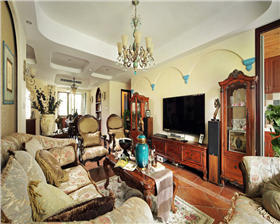 华城泊郡150平米两种不同风格相互包容 达到和谐融洽的氛围。