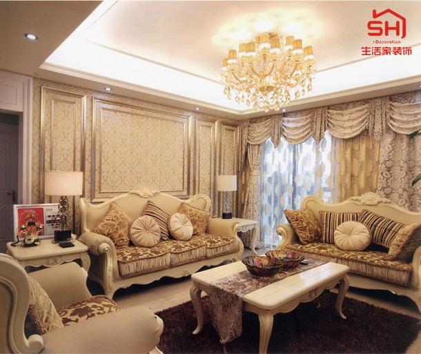 欧式风格三居客厅沙发背景墙装修图片,欧式风格沙发图片
