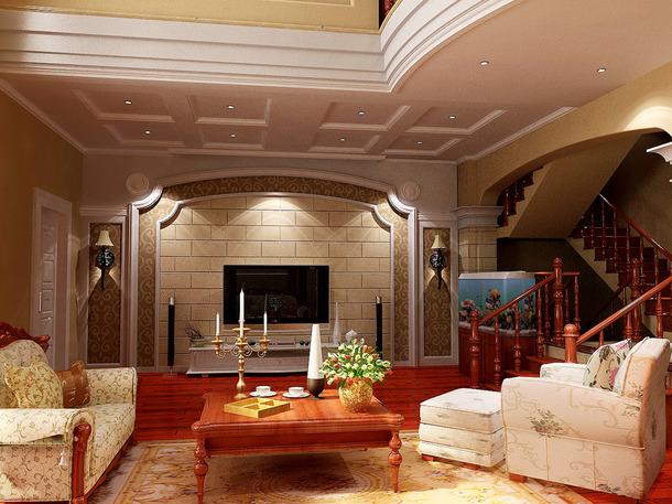 3 /7 别墅360平米欧式古典风格客厅沙发背景