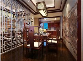 中式風格樓中樓裝修,華麗木質鏤空隔斷&超大國畫餐廳背景墻,中式風格融入時尚元素,我們要的不只是霸氣