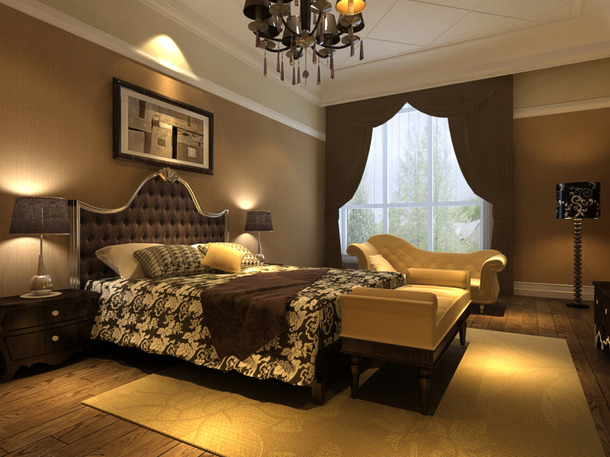 简欧风格别墅卧室背景墙装修效果图,简欧风格床头柜图片