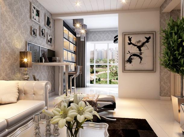 93m2欧式风格二居客厅吧台背景墙装修效果图,欧式风格沙发图片