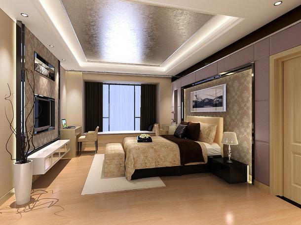 现代风格主卧室背景墙装修效果图-现代风格床头灯图片