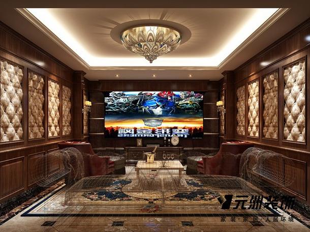 340平欧式风格别墅影音室装修效果图,欧式风格真皮单人沙发图片
