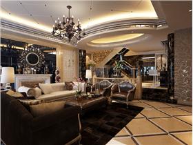 時尚新古典別墅黑白配&銀鏡墻邊打造閃耀璀璨的吊頂