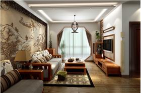 客廳背景墻傳統中國畫&木格雕花,客廳旁設開放式書房,74㎡二居中式小天地