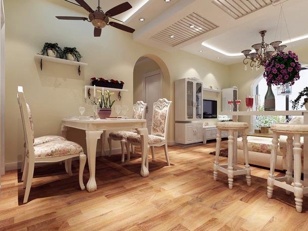 欧式田园风格餐厅吊顶装修效果图,欧式田园风格餐桌椅图片