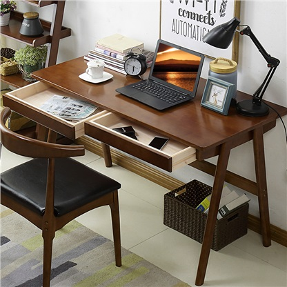 贝特森 实木书桌 北欧日式电脑桌带抽屉办公桌简约家用写字台 胡桃色