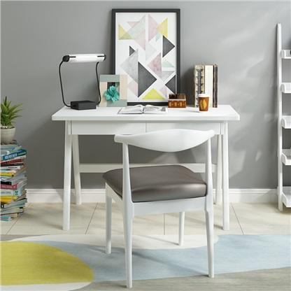 贝特森 实木书桌 北欧日式电脑桌带抽屉办公桌简约家用写字台 白色单