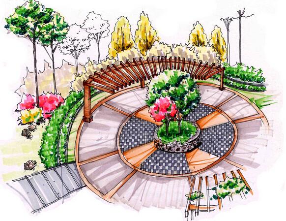广场水塘设计效果图_合抱木工装效果图