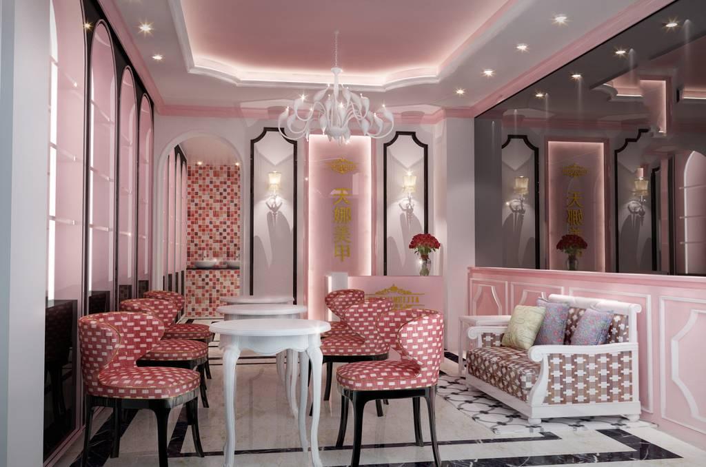 简约欧式风格美甲店接待室装修效果图-简约欧式风格吊灯图片