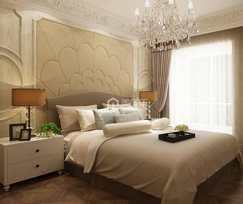 卧室浅色床头背景墙面装修效果图