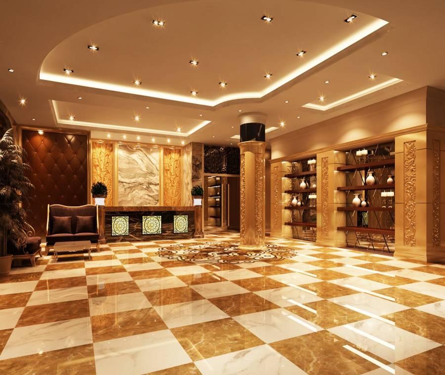 现代风格宾馆大厅吊顶装修图片-现代风格茶几图片