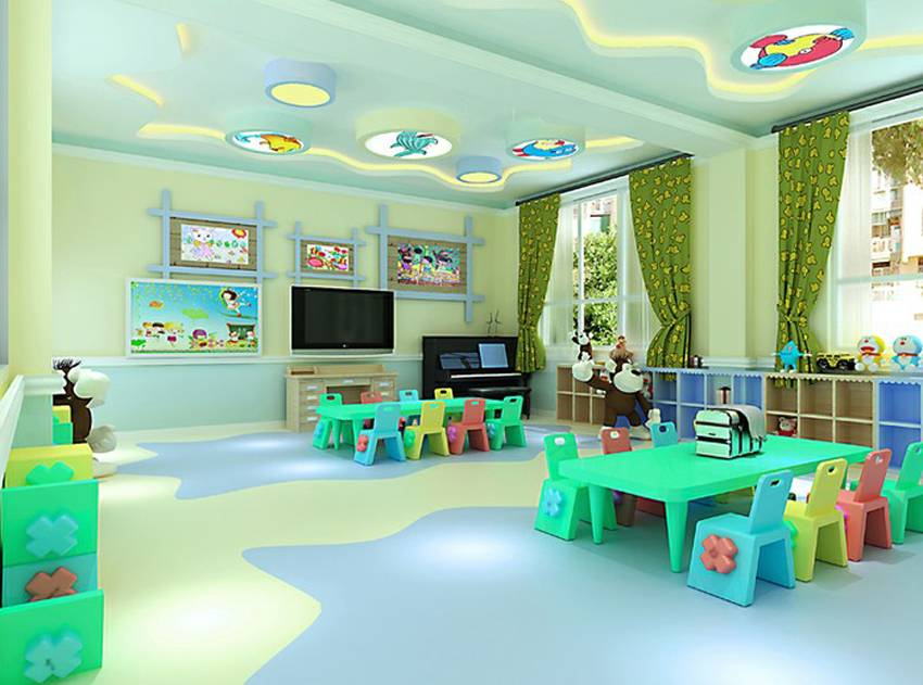 简约风格幼儿园吊顶装修效果图-简约风格儿童椅图片