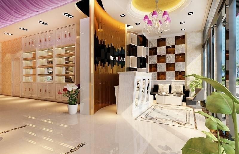 现代简约风格美容院服务台装修效果图-简约风格吊灯图片