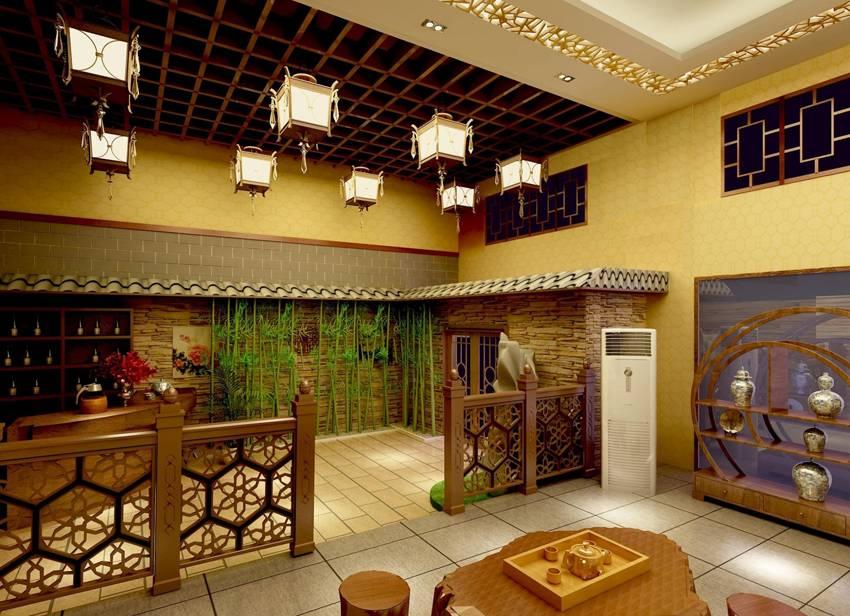 新中式风格茶楼吊顶装修效果图-新中式风格吊灯图片