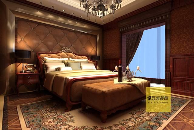 别墅主卧室床头背景墙设计效果图