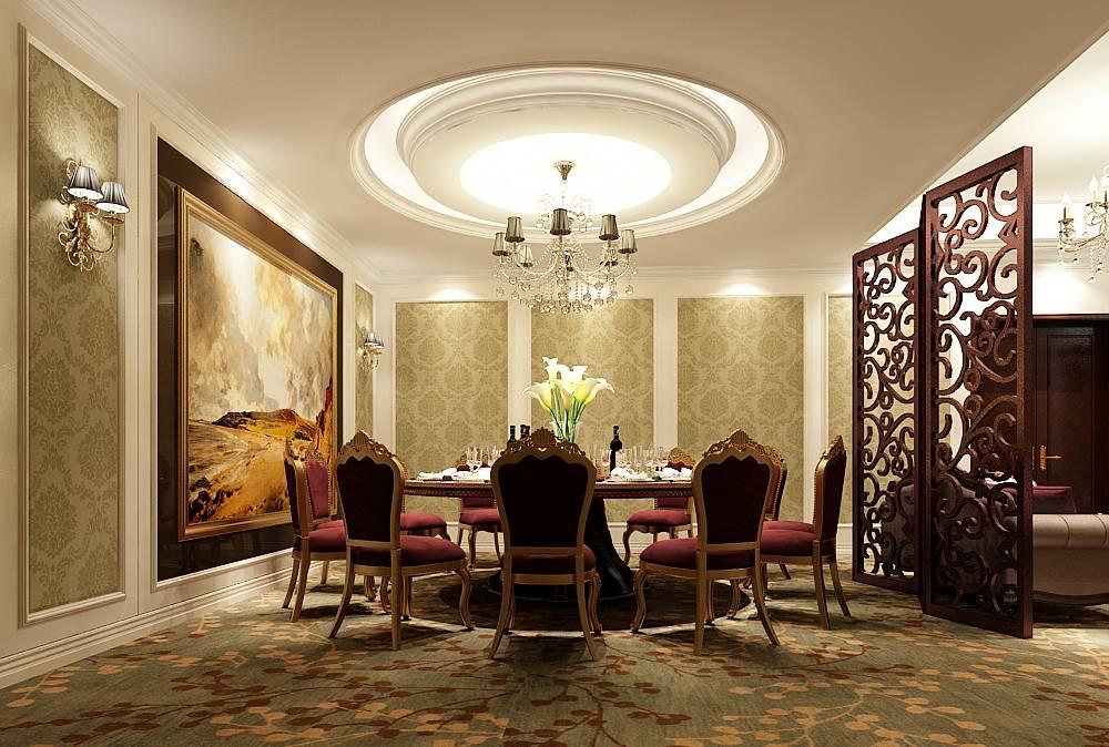 欧式风格餐饮区吊顶装修效果图,欧式风格餐桌椅图片
