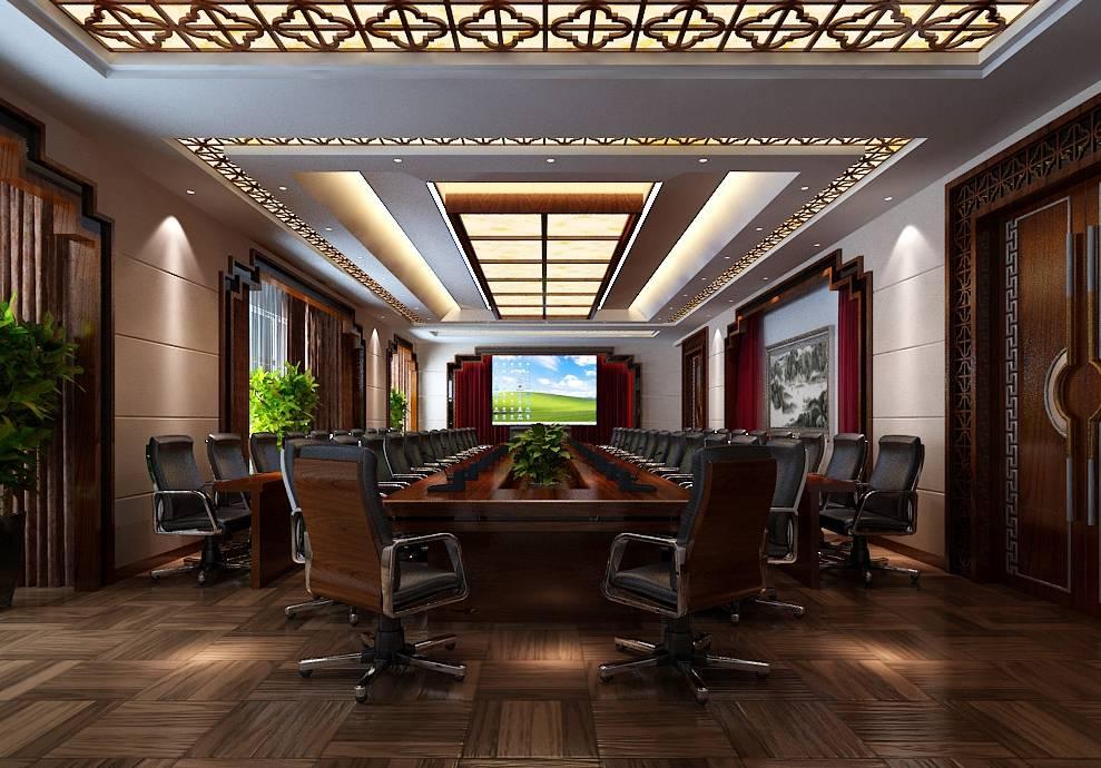简约中式风格会议室吊顶装修效果图-简约中式风格办公椅图片