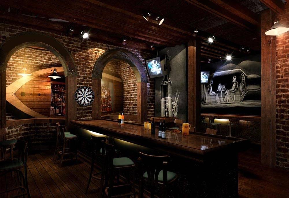 復古風格酒吧吧臺裝修圖片-復古風格吧椅圖片