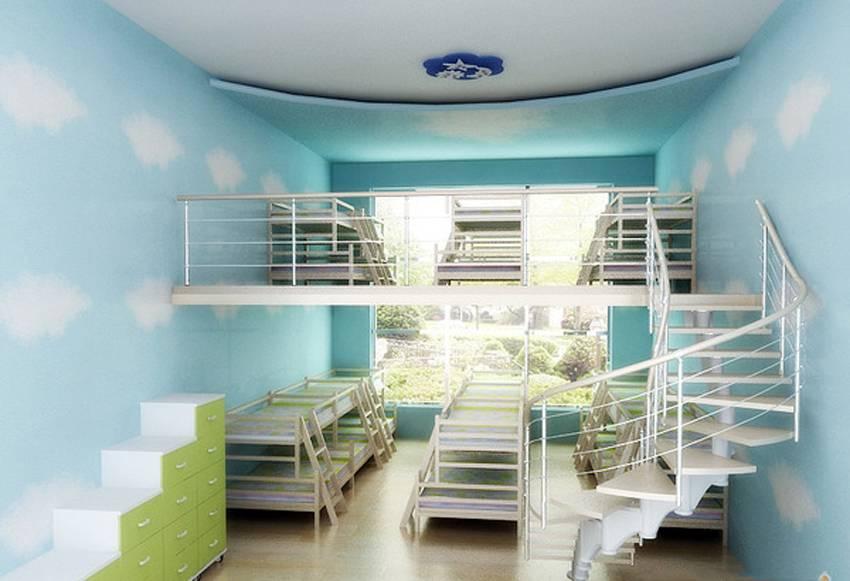 装修效果图 简约风格幼儿园吊顶装修图片-简约风格儿童椅图片  免费