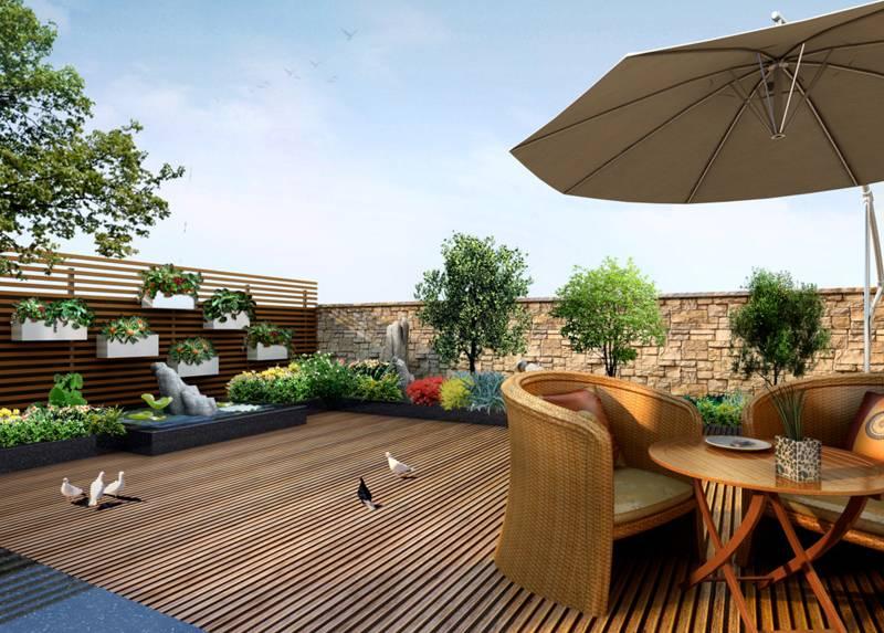 简约风格楼顶花园装修效果图-简约风格椅凳图片