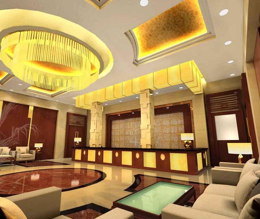 欧式风格宾馆大厅圆形吊顶装修图片-欧式风格吊灯图片